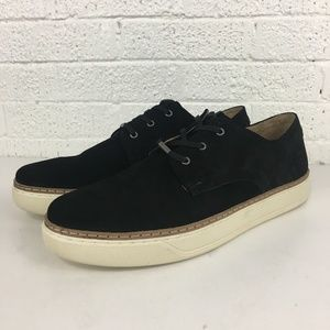 Andrew Marc Edson black suede low top sneakers
